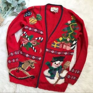 Vintage Red Christmas Embroidered Cardigan Sweater